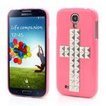 Silver Pyramid Cross Hard Case for Samsung Galaxy S4 i9500 i9502 i9505 - Rose