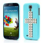 Silver Pyramid Cross Hard Case for Samsung Galaxy S4 i9500 i9502 i9505 - Blue