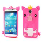 Cute 3D Pig Silicone Skin Case for Samsung Galaxy S 4 IV i9500 i9505 - Rose