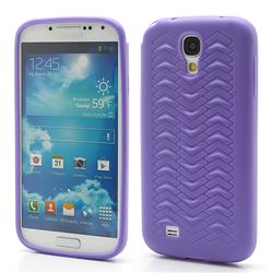 Anti-slip Tyre TPU Gel Case for Samsung Galaxy S4 i9500 i9502 i9505 - Purple