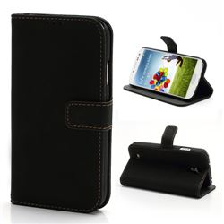 Retro Leather Case for Samsung Galaxy S4 i9500 i9505 with Built-in Stand and Wallet - Black