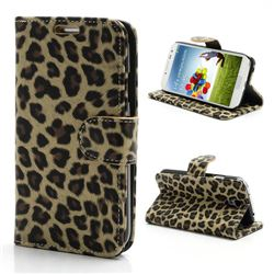 Folio Leopard Leather Case for Samsung Galaxy S4 i9500 i9505 with Built-in Stand and Wallet - Beige