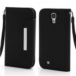 Magnetic Leather Case for Samsung Galaxy S4 i9500 i9505 with Belt and Wallet - Black