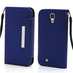 Magnetic Leather Case for Samsung Galaxy S4 i9500 i9505 with Belt and Wallet - DarkBlue