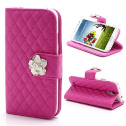 Rhombus Leather Case for Samsung Galaxy S4 IV i9500 i9505 with Diamond Flower Buckle - Rose