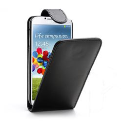 Cheap Slim PU Leather Flip Case for Samsung Galaxy S4 i9500 / S IV i9500 i9505 With Built-in Card Slots - Black
