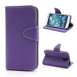 Oblique Lines Leather Case for Samsung Galaxy S4 i9500 i9505 with Built-in Wallet and Stand - Purple