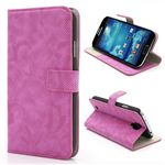 Twill Grain Leather Case for Samsung Galaxy S 4 IV i9500 i9502 i9505 with Built-in Stand and Card Slot - Rose