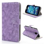 Twill Grain Leather Case for Samsung Galaxy S 4 IV i9500 i9502 i9505 with Built-in Stand and Card Slot - Purple