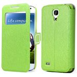 Call ID Feather Silk Series Leather Case for Samsung Galaxy S4 i9500 - Green