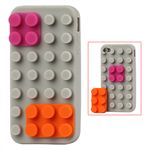 Building Block Silicone Case for iPhone 4 / iPhone 4S - Grey