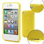 TPU Gel Case for iPhone 4S / iPhone 4 with Built-in Dust-proof Plug - Yellow