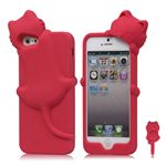 DER Hello Deere 3D Diffie Cat Silicone Case for iPhone 5s / iPhone 5 - Rose
