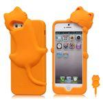 DER Hello Deere 3D Diffie Cat Silicone Case for iPhone 5s / iPhone 5 - Orange