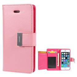 Mercury Rich Diary Leather Flip Cover for iPhone 5s / iPhone 5 - Pink