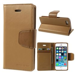 Mercury Sonata Diary Series Glossy Leather Flip Cover for iPhone 5s / iPhone 5 - Brown