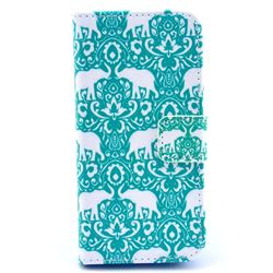 Elephants Tribal Leather Flip Wallet Case Cover for iPhone 5s / iPhone 5