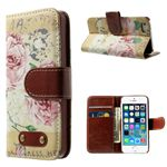 Cross Pattern Blooming Peony Leather Wallet Case for iPhone 5s / iPhone 5