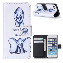 Be Happy Elephant Leather Wallet Case for iPhone 5s / iPhone 5