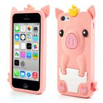 Cute Crown Pig Soft Silicone Case for iPhone 5c - Pink