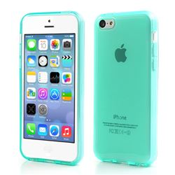 Inner Frosted Soft TPU Gel Case for iPhone 5C - Cyan