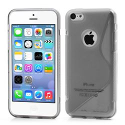S-Curve TPU Gel Cover for iPhone 5C with Logo Cutout - Grey