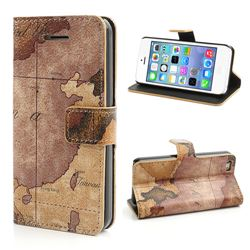World Map Pattern Leather Wallet Case for iPhone 5c - Brown