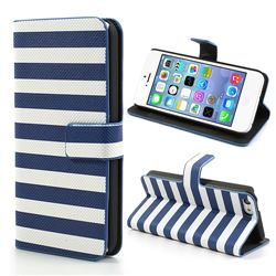 Stripe Leather Case for iPhone 5c - Blue + White