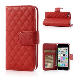 Rhombus Pattern Leather Wallet Case for iPhone 5c - Red