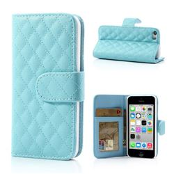 Rhombus Pattern Leather Wallet Case for iPhone 5c - Baby Blue