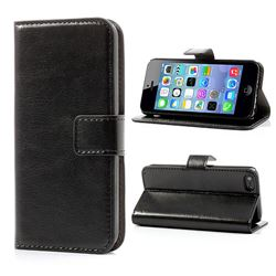 Crazy Horse PU Leather Case for iPhone 5c - Black