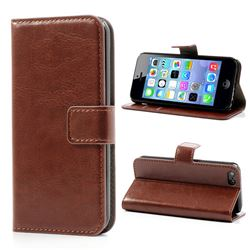 Crazy Horse PU Leather Case for iPhone 5c - Brown
