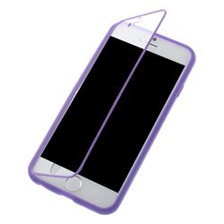 TPU Flip Cover for iPhone 6 (4.7 inch) with Transparent PC Screen Cover  - Purple