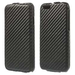 Carbon Fibre Vertical Leather Flip Cover for iPhone 6 (4.7 inch) - Black