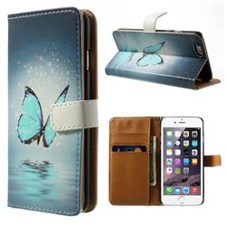 Blue Butterfly Leather Wallet Case for iPhone 6 (4.7 inch)