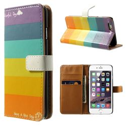 Colorful Stripes Leather Wallet Case for iPhone 6 (4.7 inch)