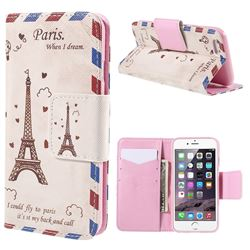 Cross Pattern Eiffel Tower Envelope Leather Wallet Case for iPhone 6 (4.7 inch)