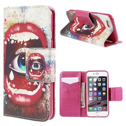 Cross Pattern Eye in Sexy Lip Leather Wallet Case for iPhone 6 (4.7 inch)