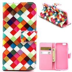 Color Plaid Leather Wallet Case for iPhone 6 (4.7 inch)