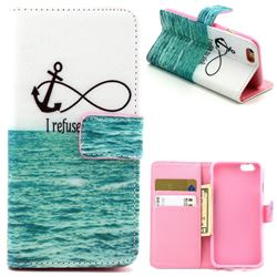Big Sea Anchor Leather Wallet Case for iPhone 6 (4.7 inch)