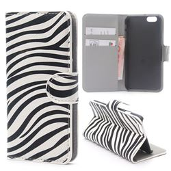 Zebra Stripe Leather Wallet Case for iPhone 6 Plus (5.5 inch)