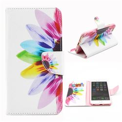 Seven-color Flowers Leather Wallet Case for iPhone 6 Plus (5.5 inch)