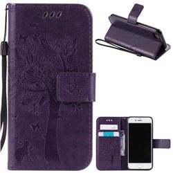 Embossing Butterfly Tree Leather Wallet Case For IPhone 8 7 8G 7G 47 Inch Purple
