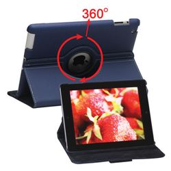 360 Degree Rotating Folio Canvas Stand Case for iPad 4 / the New iPad / iPad 2 with Pen - Blue