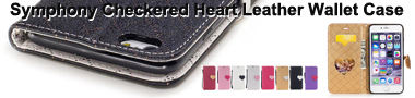 Wholeasle Symphony Checkered Dual Color PU Heart Leather Wallet Phone Case Banner