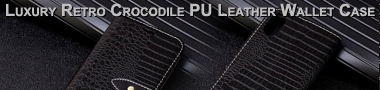 Luxury Retro Crocodile PU Leather Wallet Case Banner